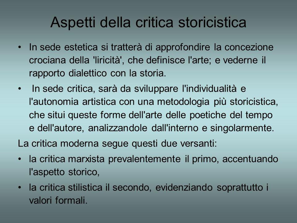 Aspetti della critica storicistica