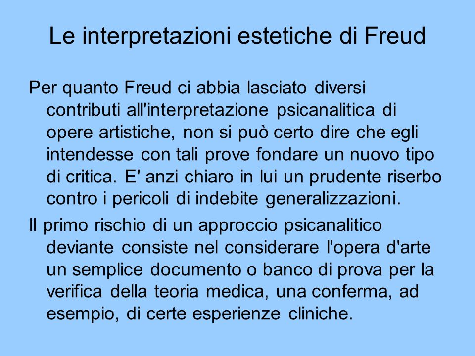 Le interpretazioni estetiche di Freud