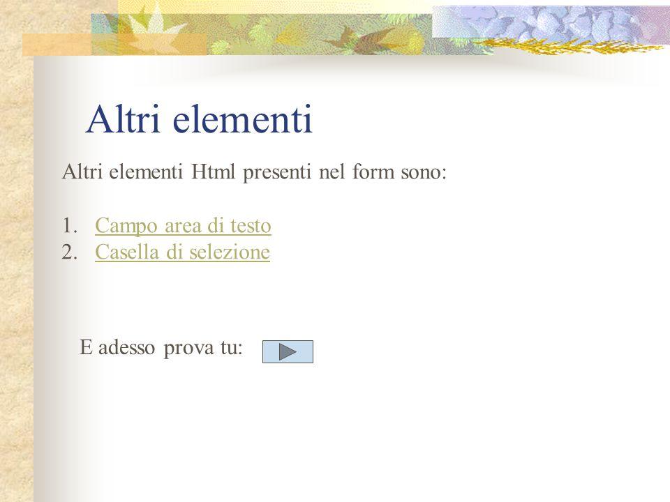 Altri elementi Altri elementi Html presenti nel form sono: