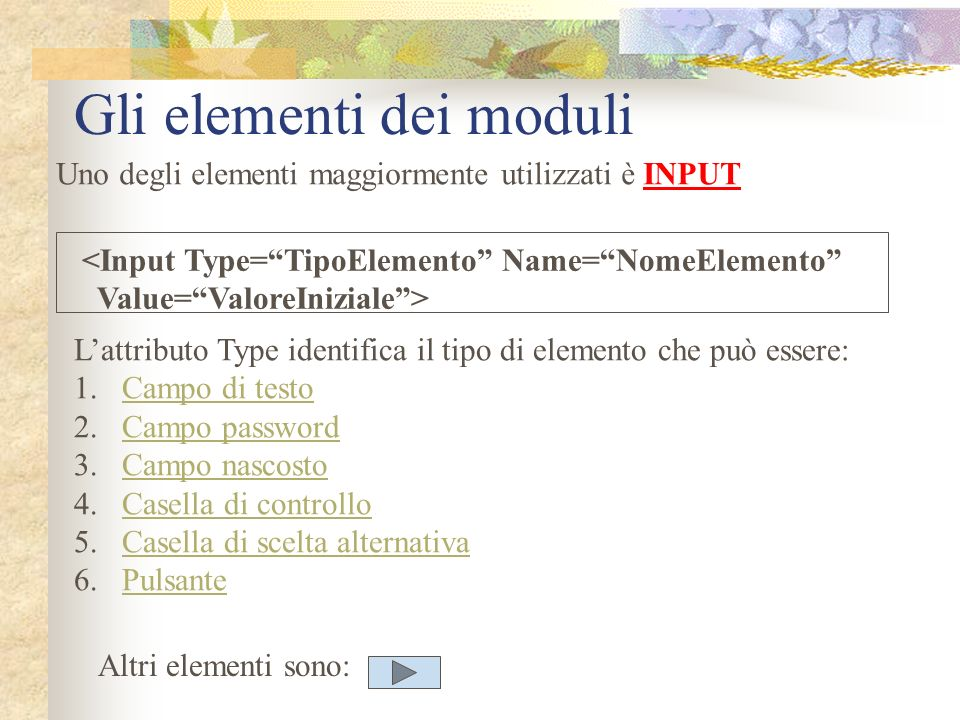Gli elementi dei moduli