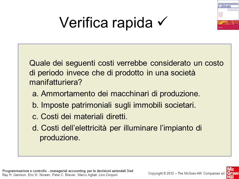 Verifica rapida  Quale dei seguenti costi verrebbe considerato un costo di periodo invece che di prodotto in una società manifatturiera