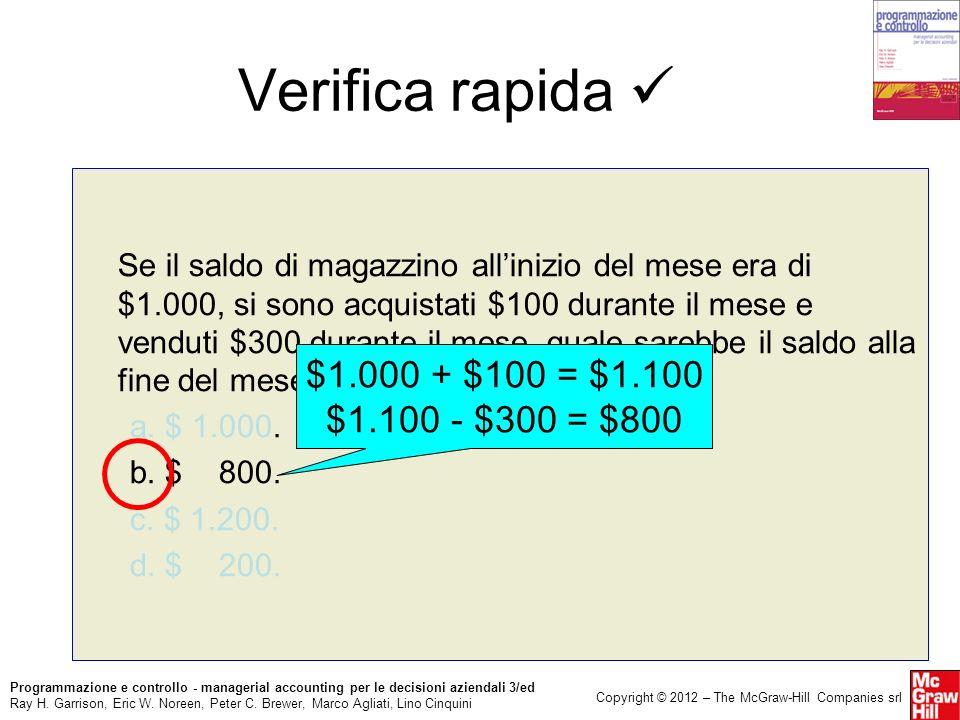 Verifica rapida  $1.000 + $100 = $1.100 $1.100 - $300 = $800