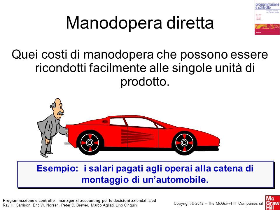 Manodopera diretta Quei costi di manodopera che possono essere ricondotti facilmente alle singole unità di prodotto.