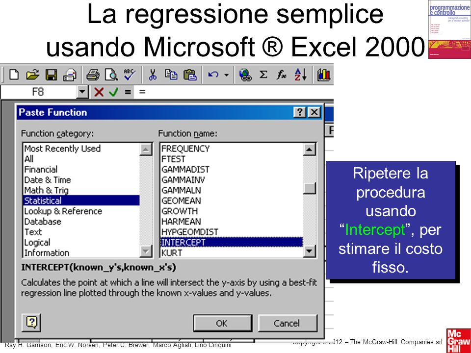La regressione semplice usando Microsoft ® Excel 2000