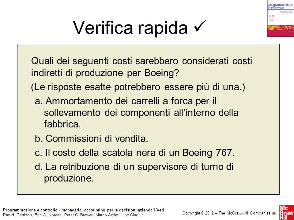 Verifica rapida  Quali dei seguenti costi sarebbero considerati costi indiretti di produzione per Boeing