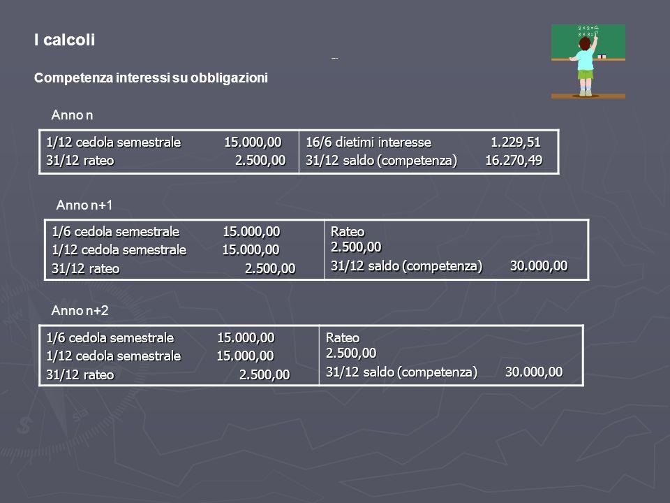I calcoli Competenza interessi su obbligazioni Anno n