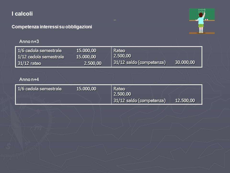 I calcoli Competenza interessi su obbligazioni Anno n+3