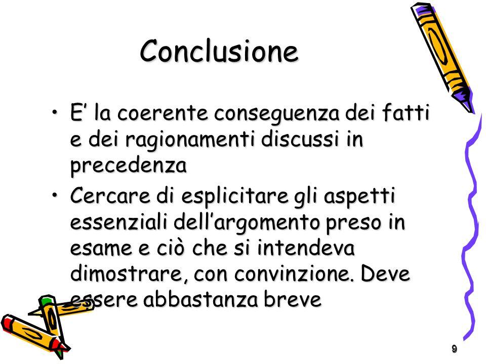Conclusione E' la coerente conseguenza dei fatti e dei ragionamenti discussi in precedenza.