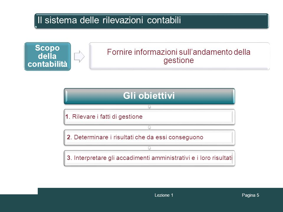 Il sistema delle rilevazioni contabili