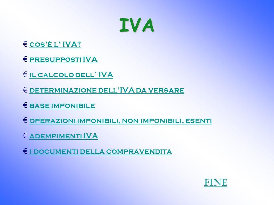 IVA Fine cos'è l' IVA presupposti IVA il calcolo dell' IVA