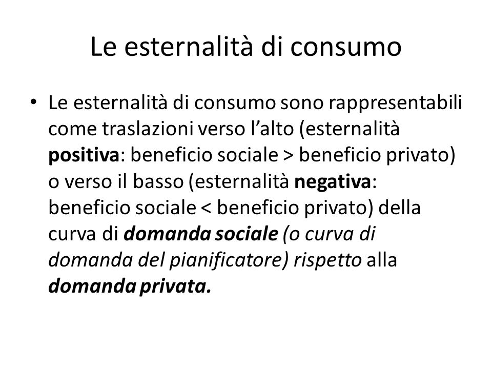 Le esternalità di consumo