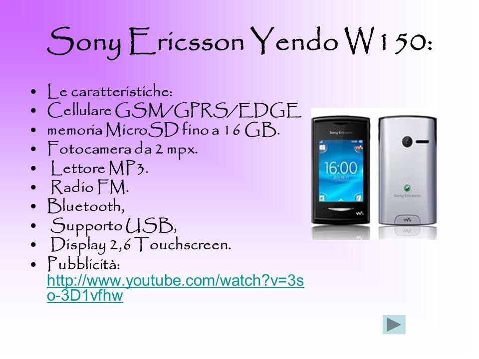 Sony Ericsson Yendo W150: Le caratteristiche: Cellulare GSM/GPRS/EDGE