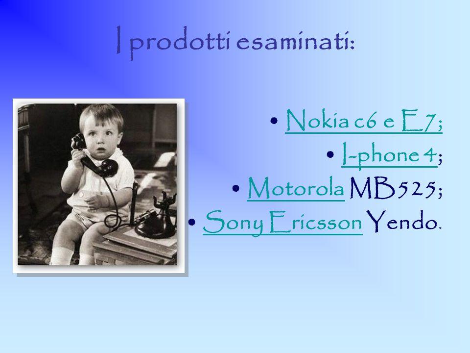 I prodotti esaminati: Nokia c6 e E7; I-phone 4; Motorola MB525;