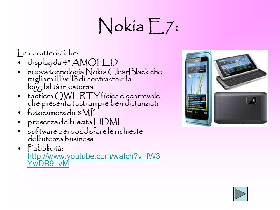 Nokia E7: Le caratteristiche: display da 4 AMOLED