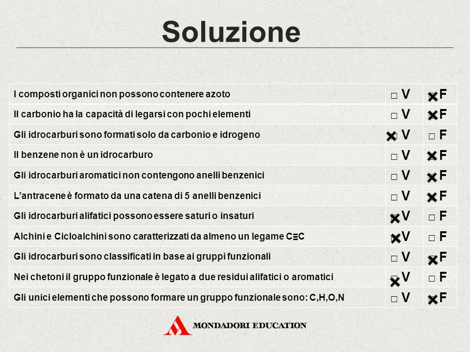 Soluzione □ V □ F I composti organici non possono contenere azoto