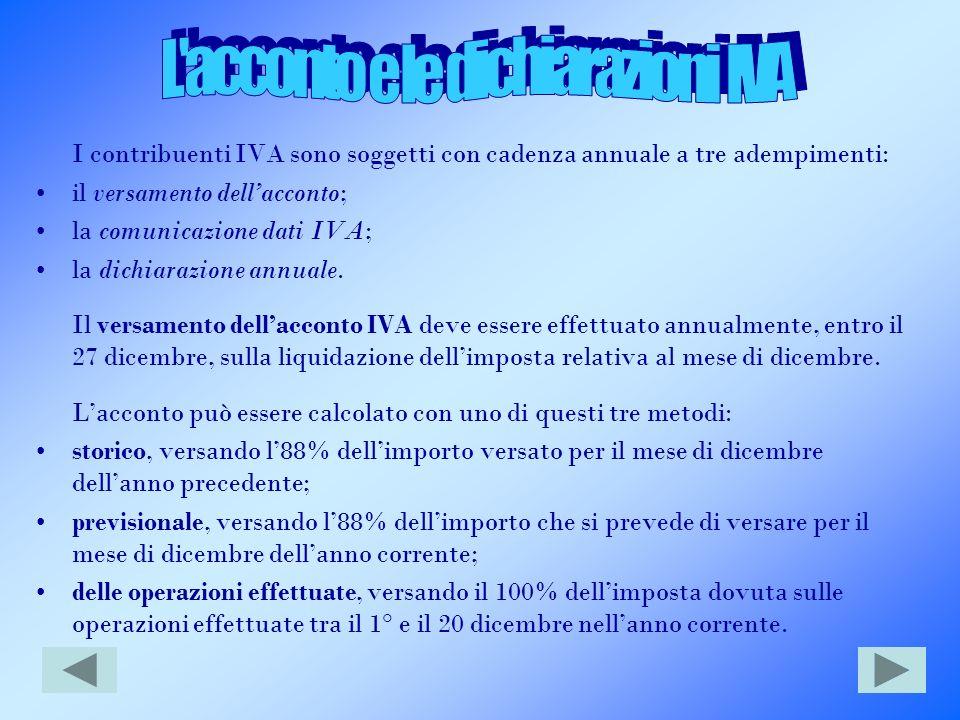 L acconto e le dichiarazioni IVA