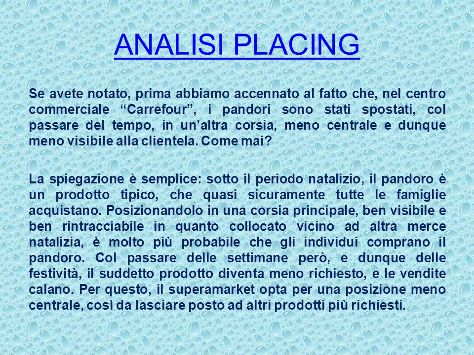 ANALISI PLACING