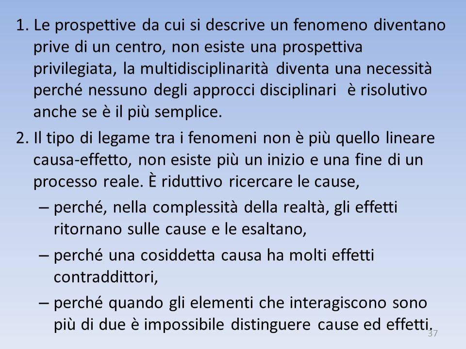 1. Le prospettive da cui si descrive un fenomeno diventano prive di un centro, non esiste una prospettiva privilegiata, la multidisciplinarità diventa una necessità perché nessuno degli approcci disciplinari è risolutivo anche se è il più semplice.