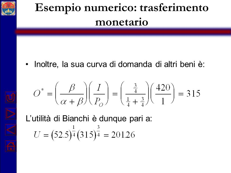 Esempio numerico: trasferimento monetario