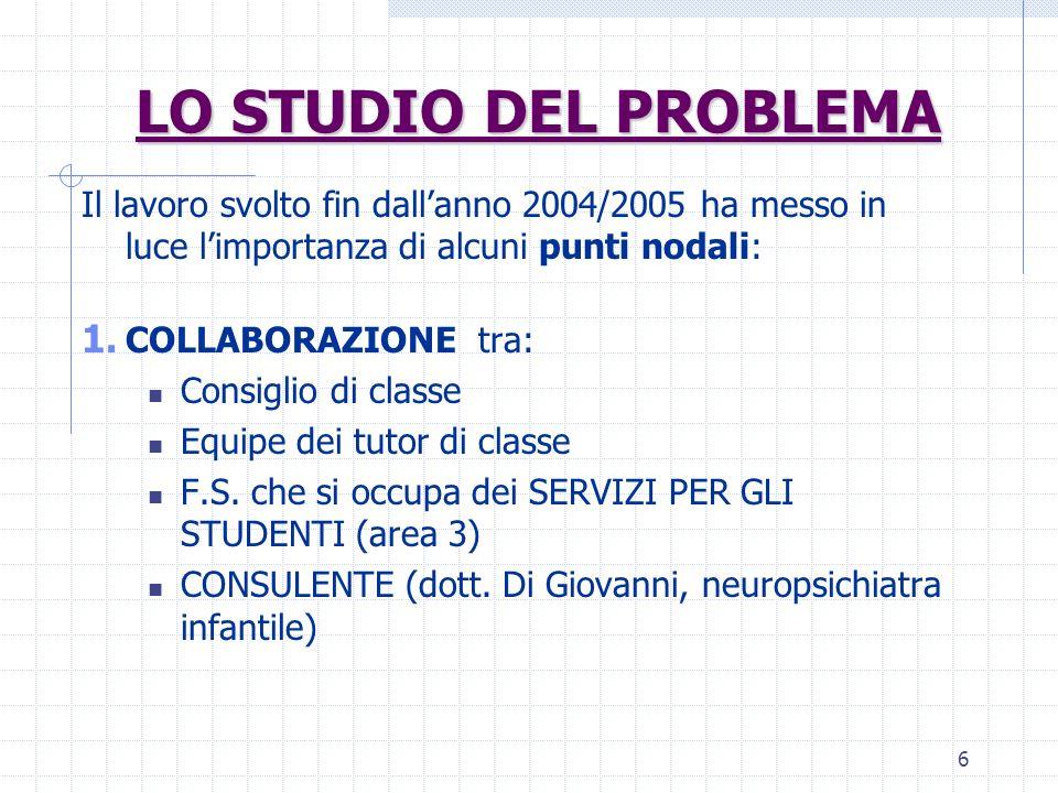 LO STUDIO DEL PROBLEMA Il lavoro svolto fin dall'anno 2004/2005 ha messo in luce l'importanza di alcuni punti nodali: