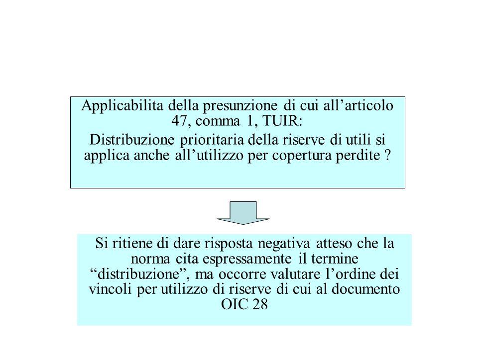 Applicabilita della presunzione di cui all'articolo 47, comma 1, TUIR:
