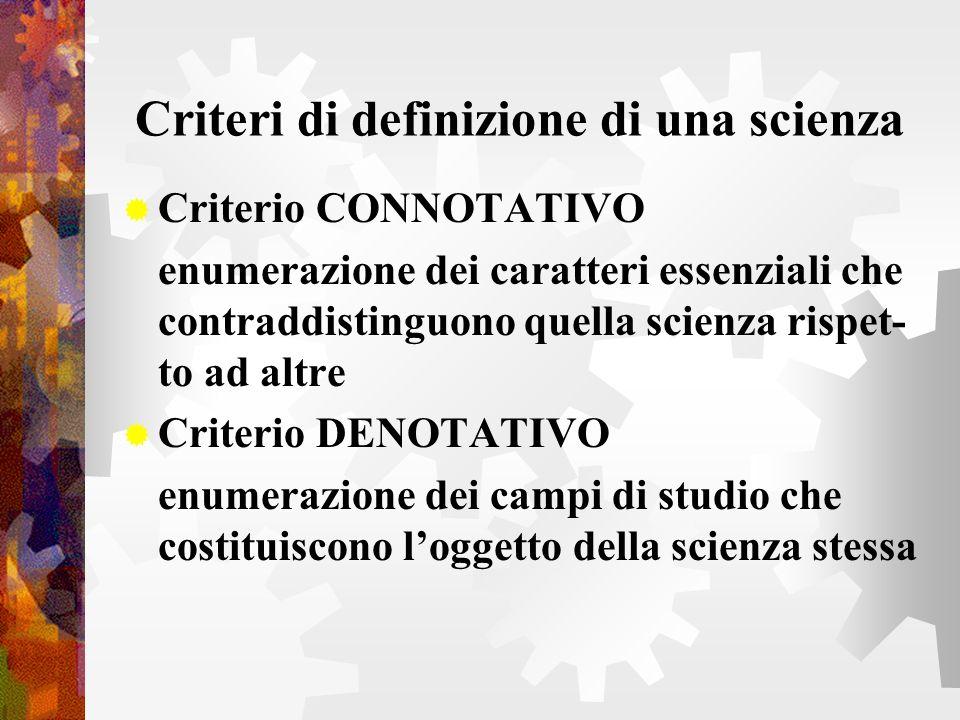 Criteri di definizione di una scienza