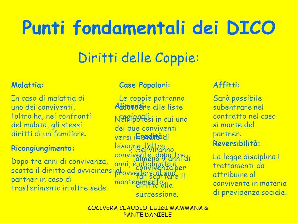 Punti fondamentali dei DICO