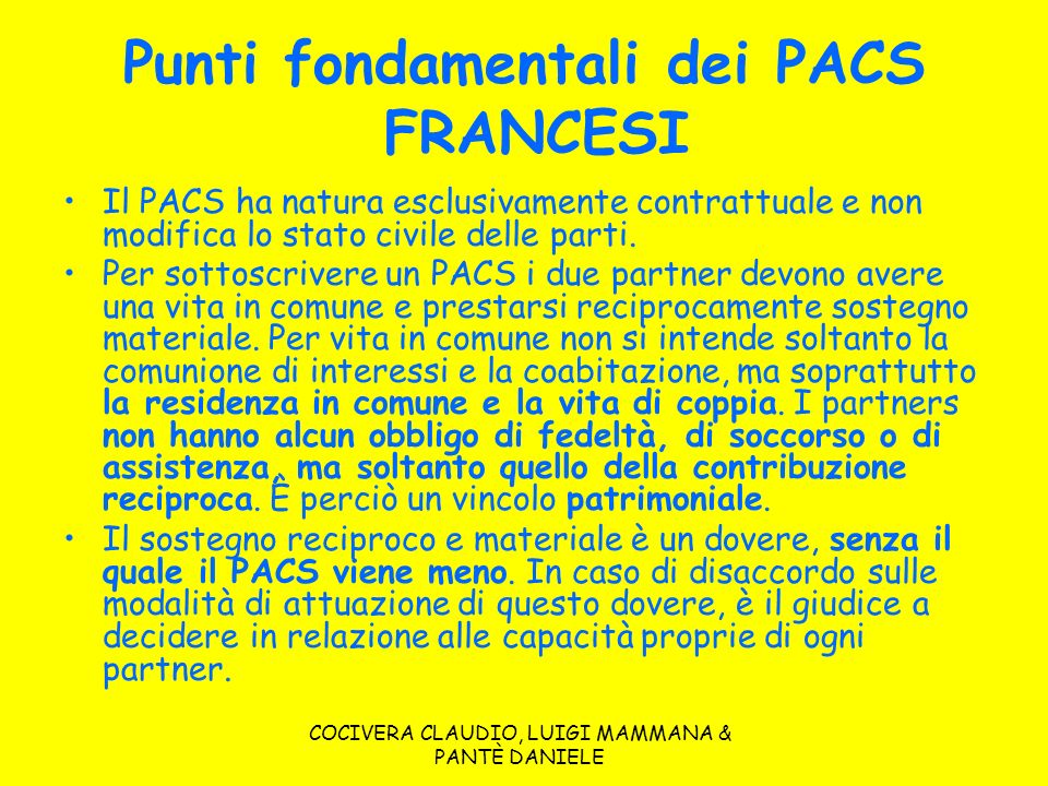 Punti fondamentali dei PACS FRANCESI