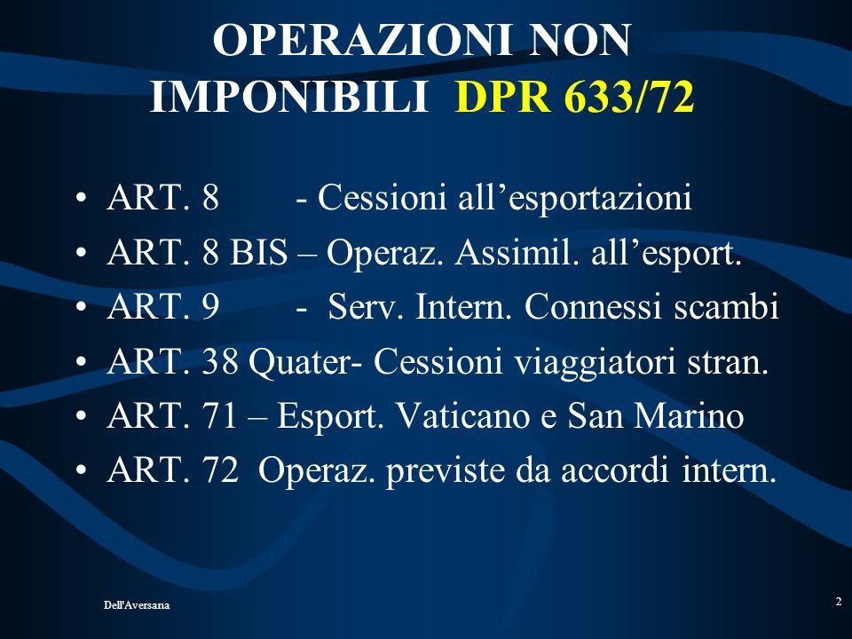 OPERAZIONI NON IMPONIBILI DPR 633/72