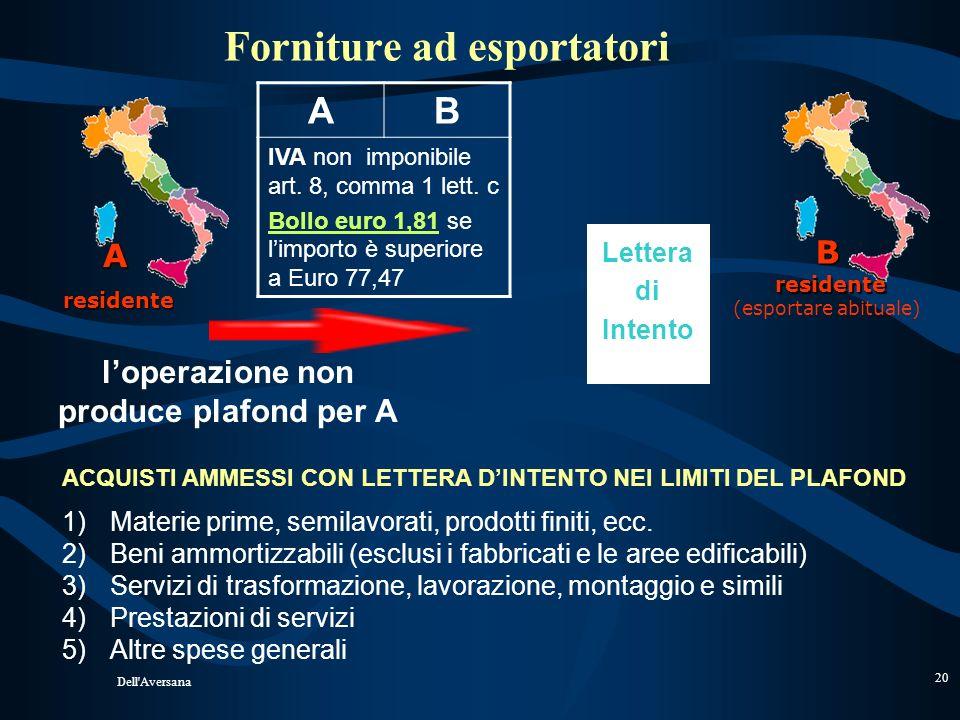 Forniture ad esportatori