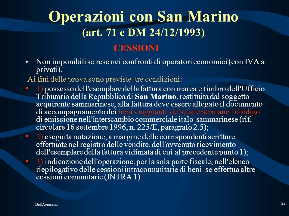 Operazioni con San Marino (art. 71 e DM 24/12/1993)