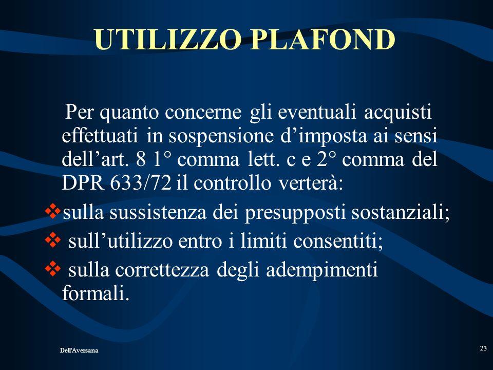 UTILIZZO PLAFOND