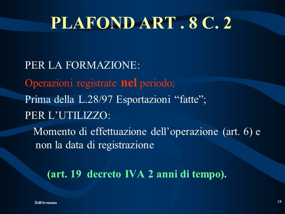 PLAFOND ART . 8 C. 2 PER LA FORMAZIONE: