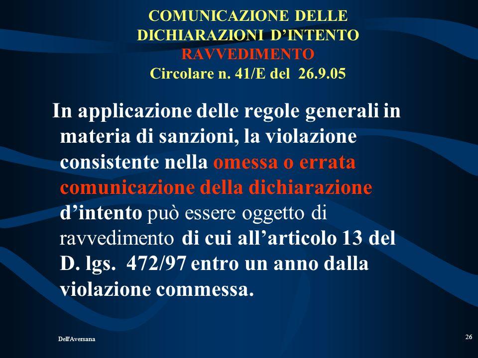 COMUNICAZIONE DELLE DICHIARAZIONI D'INTENTO RAVVEDIMENTO Circolare n