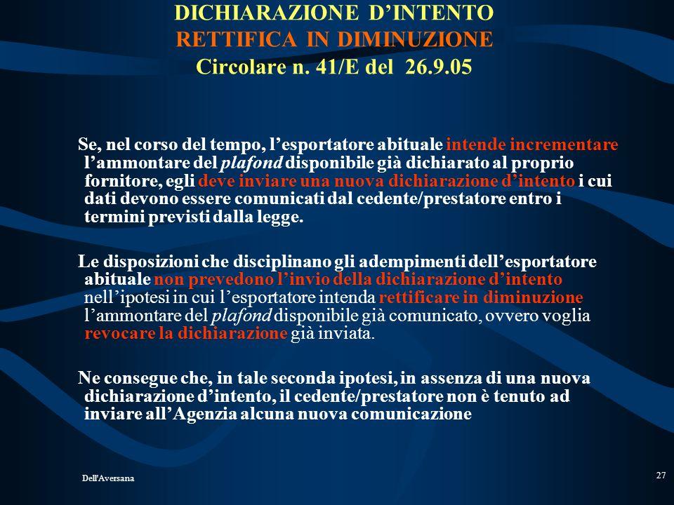 DICHIARAZIONE D'INTENTO RETTIFICA IN DIMINUZIONE Circolare n