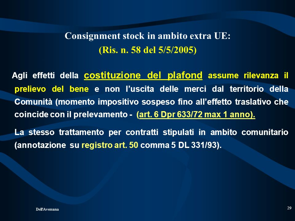 Consignment stock in ambito extra UE: