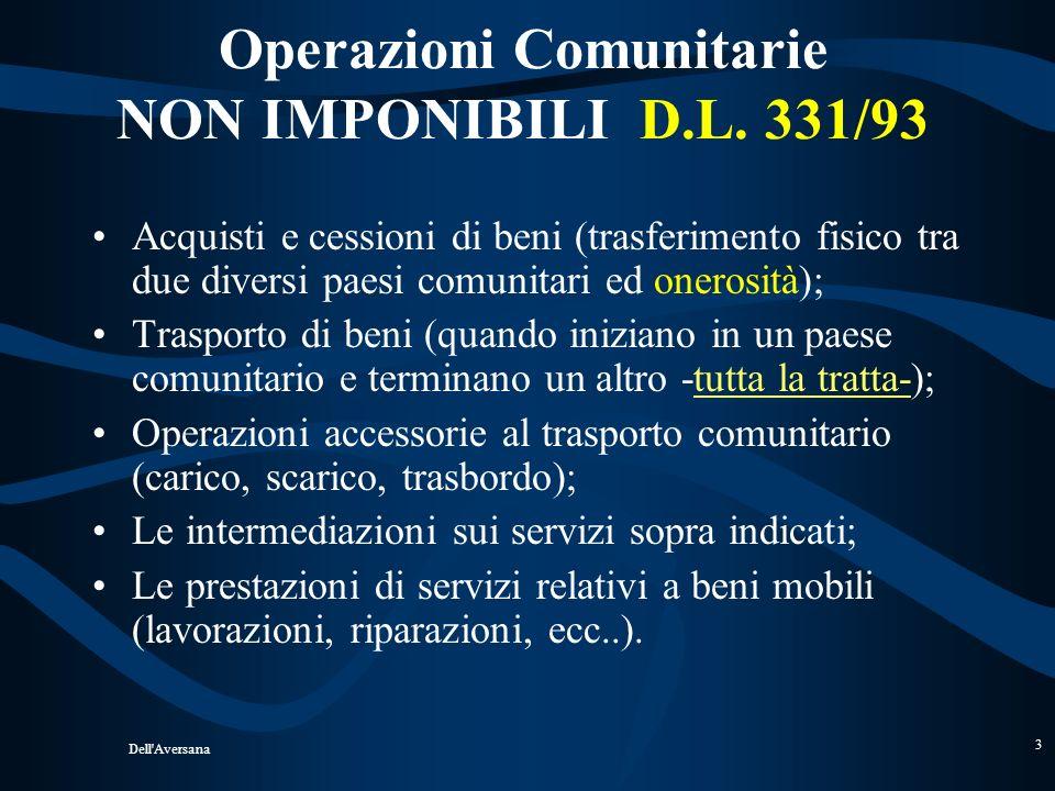 Operazioni Comunitarie NON IMPONIBILI D.L. 331/93