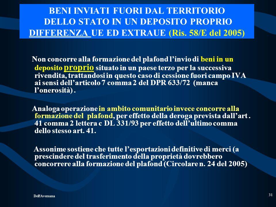BENI INVIATI FUORI DAL TERRITORIO DELLO STATO IN UN DEPOSITO PROPRIO DIFFERENZA UE ED EXTRAUE (Ris. 58/E del 2005)