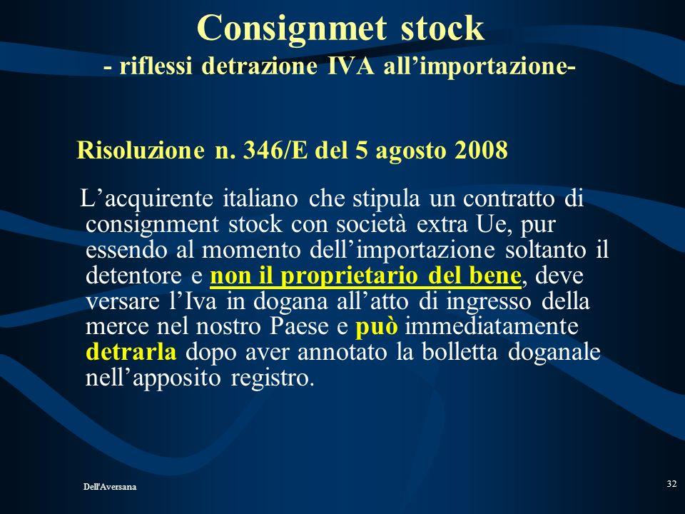 Consignmet stock - riflessi detrazione IVA all'importazione-