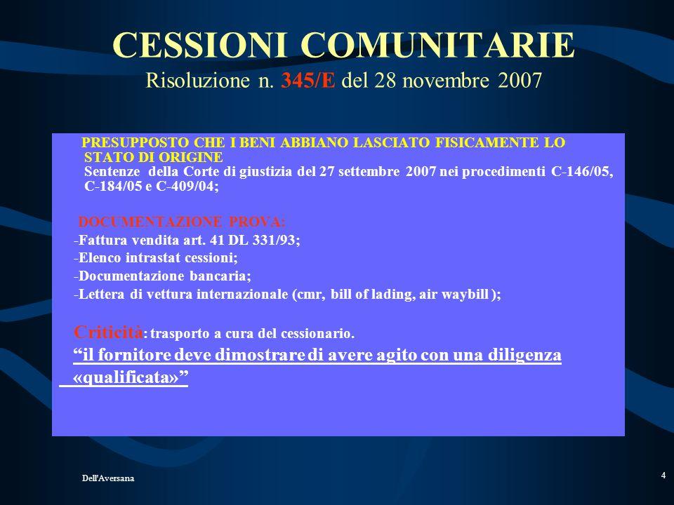 CESSIONI COMUNITARIE Risoluzione n. 345/E del 28 novembre 2007