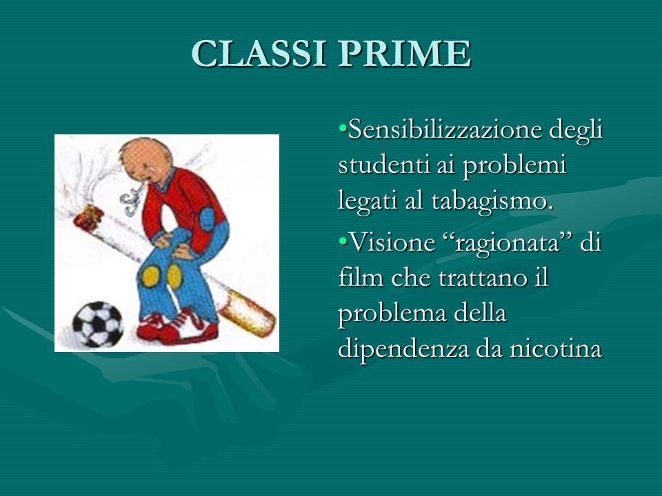 CLASSI PRIMESensibilizzazione degli studenti ai problemi legati al tabagismo.