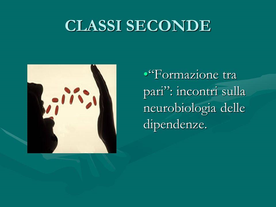CLASSI SECONDE Formazione tra pari : incontri sulla neurobiologia delle dipendenze.
