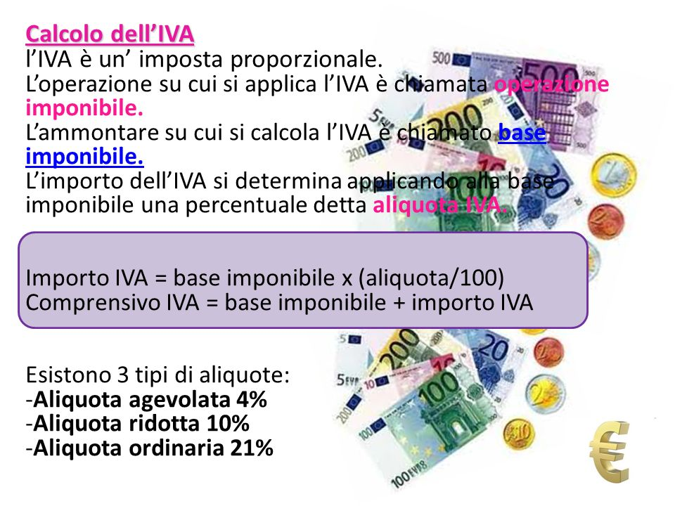 l'IVA è un' imposta proporzionale.