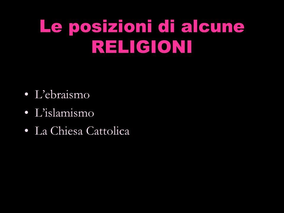Le posizioni di alcune RELIGIONI