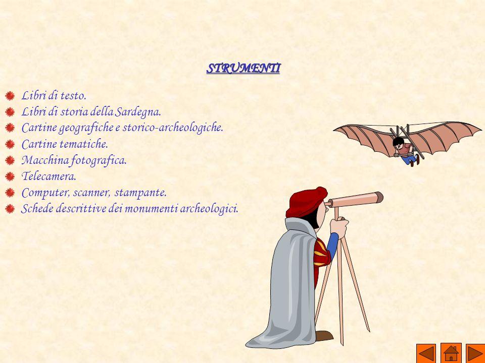 STRUMENTI Libri di testo. Libri di storia della Sardegna. Cartine geografiche e storico-archeologiche.