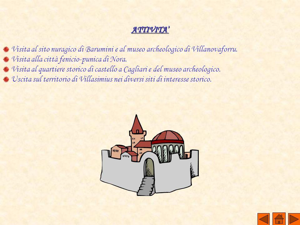 ATTIVITA' Visita al sito nuragico di Barumini e al museo archeologico di Villanovaforru. Visita alla città fenicio-punica di Nora.