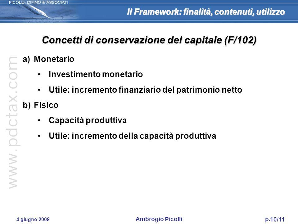 Concetti di conservazione del capitale (F/102)