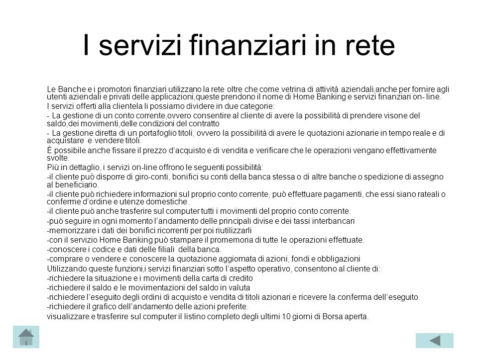 I servizi finanziari in rete