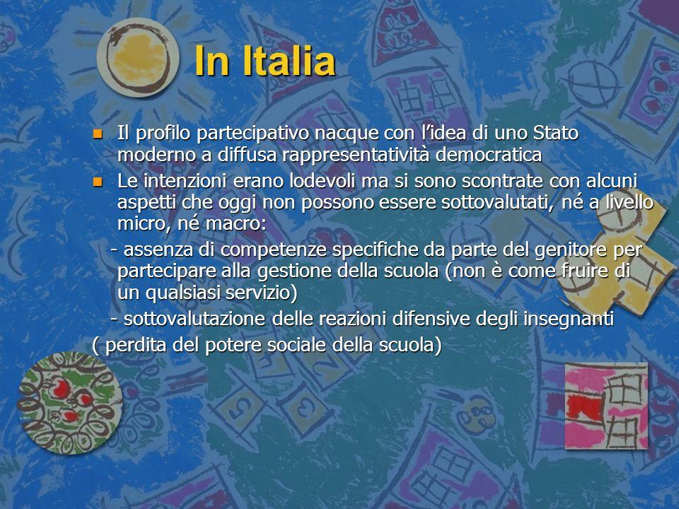 In Italia Il profilo partecipativo nacque con l'idea di uno Stato moderno a diffusa rappresentatività democratica.