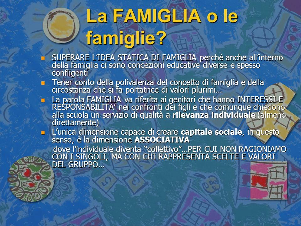 La FAMIGLIA o le famiglie